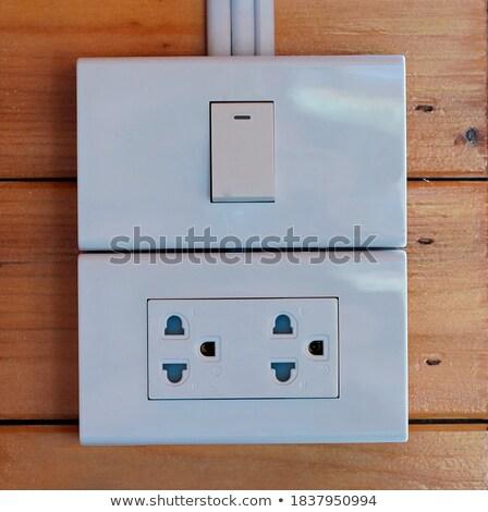 Stock fotó: Erő · foglalat · fából · készült · fal · műanyag · elektromosság