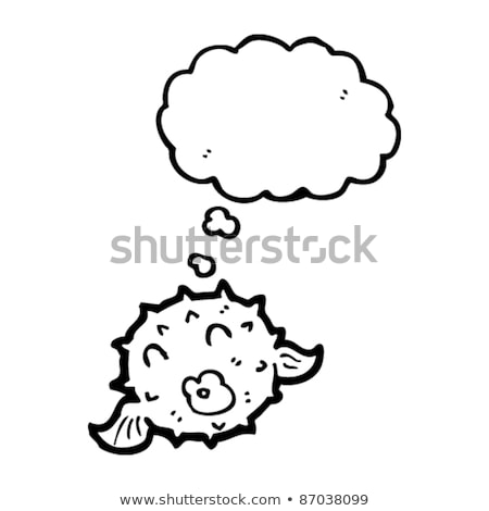 cartoon puffer fish with thought bubble Stock photo © lineartestpilot