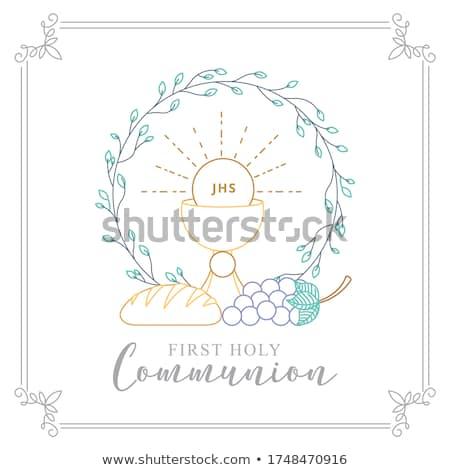 Foto d'archivio: Primo · comunione · invito · simboli · spazio