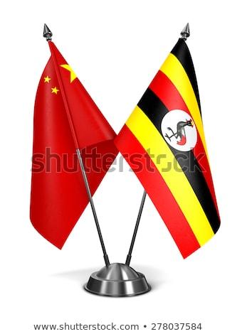 Chine Ouganda miniature drapeaux isolé blanche Photo stock © tashatuvango
