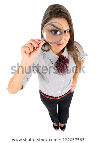 business lady with magnifying glass isolated on white stock photo © elnur