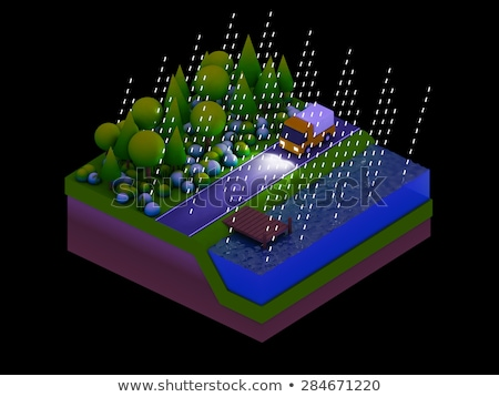 isometric city buildings, landscape, Road and river, night scen Stock photo © teerawit
