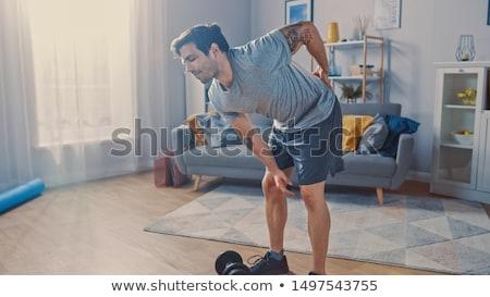 caber · homem · ferido · de · volta · branco · fitness - foto stock © wavebreak_media