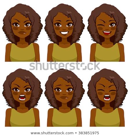 Afro vrouw groene ogen illustratie vintage kapsel Stockfoto © cienpies