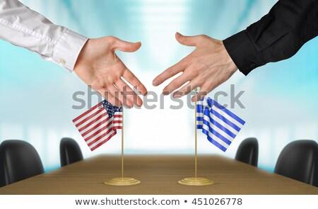 EUA Grécia apertar a mão mãos mão reunião Foto stock © Zerbor