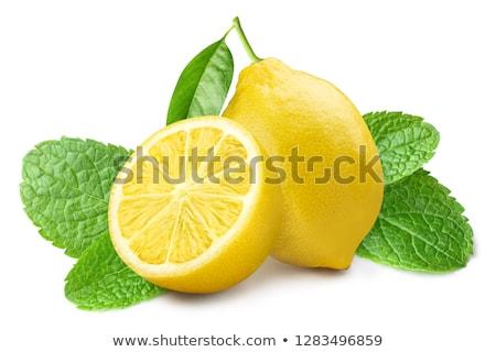 Limão de fatias folhas comida folha Foto stock © Fotografiche