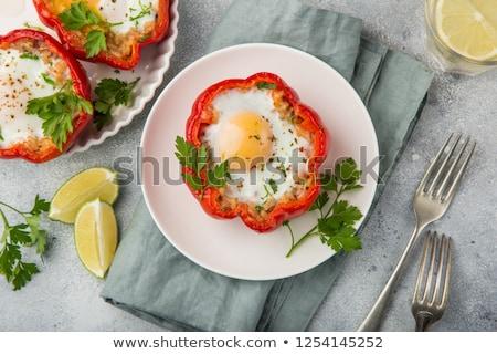 Sajt piros paprika tányér friss közelkép Stock fotó © Digifoodstock