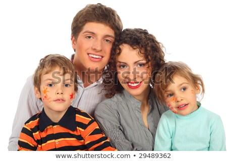 Famille heureuse quatre tableaux puéril visages femme Photo stock © Paha_L
