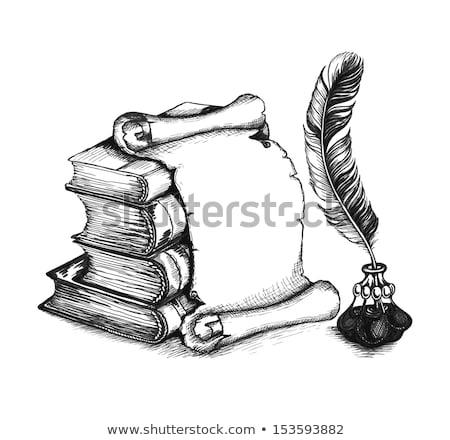 papier · scroll · veer · pen · lijn · icon - stockfoto © rastudio