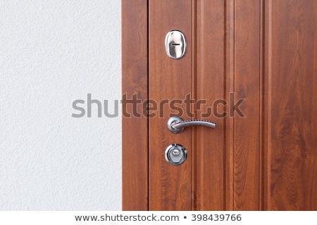 бирюзовый · двери · Vintage · металл · обрабатывать · замочную · скважину - Сток-фото © amok