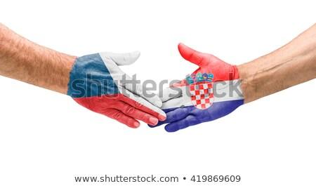 Calcio squadre stretta di mano Repubblica Ceca Croazia mano Foto d'archivio © Zerbor