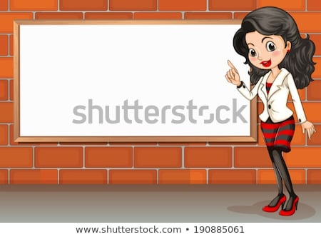 A stonewall with an empty signboard Stock photo © bluering