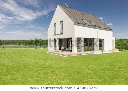 Bleu maison individuelle illustration blanche bâtiment modèle Photo stock © bluering