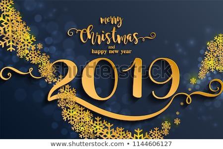 joyeux · Noël · nouvelle · année · or · fleur · carte - photo stock © cienpies