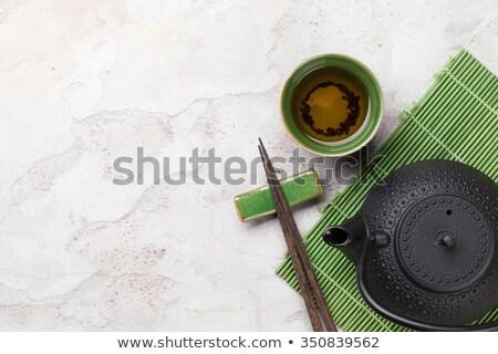 Sushi eetstokjes steen tabel top Stockfoto © karandaev