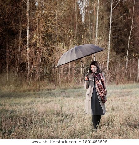 Kız dumanlı şemsiye renkli bahar seksi Stok fotoğraf © konradbak