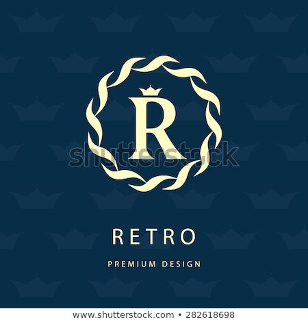 Virágmintás monogram keret keret logo r betű Stock fotó © SArts