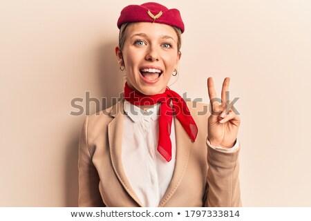 白人 スチュワーデス 勝利 ジェスチャー にログイン ストックフォト © RAStudio