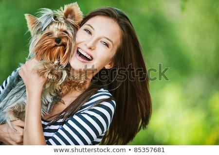 Kadın güzel genç mutlu uzun koyu renk saçları Stok fotoğraf © Yatsenko