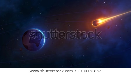 Abstract space background falling meteorites and planet Stock photo © orensila