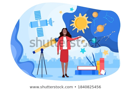 Girl with telescope learning solar system Stock photo © bluering