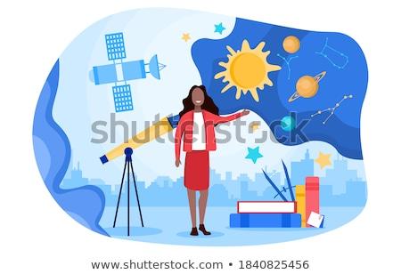 Fată telescop învăţare sistemul solar ilustrare soare Imagine de stoc © bluering