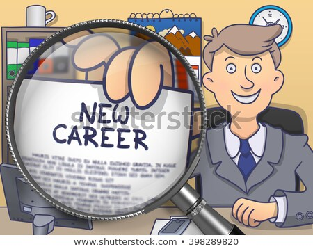 New Job through Magnifier. Doodle Concept. Stock photo © tashatuvango