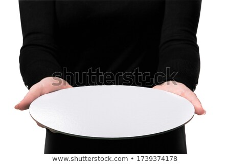 girl looks at the plate with space for advertising Stock photo © tekso