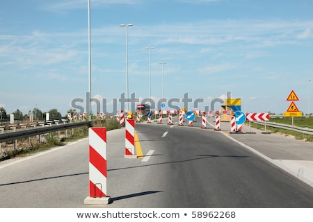 Blue detour sign for roadworks Stock photo © stevanovicigor