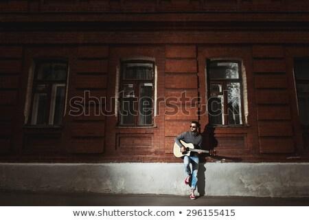 Foto stock: Masculina · guitarrista · realizar · concierto · vista