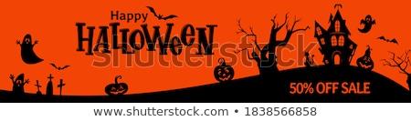 Halloween vásár szöveg logo sütőtök szerkeszthető Stock fotó © thecorner
