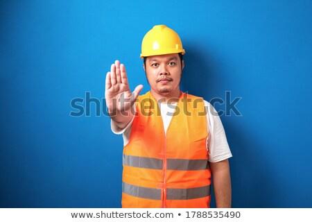 ázsiai építész mutat stop kézmozdulat fiatal Stock fotó © RAStudio