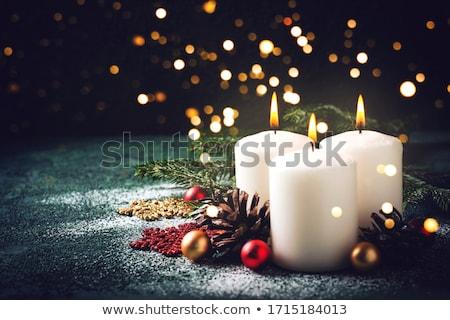 ストックフォト: キャンドル · クリスマス · 装飾 · 白 · 赤 · キャンドル
