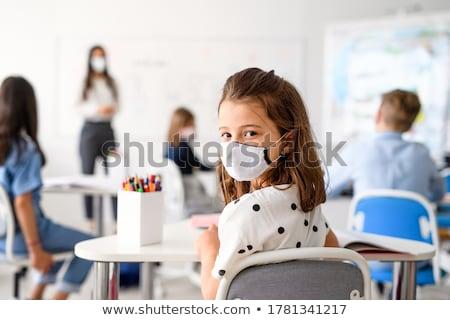 小さな · 教師 · 立って · ホワイトボード · 教室 · 眼鏡 - ストックフォト © is2