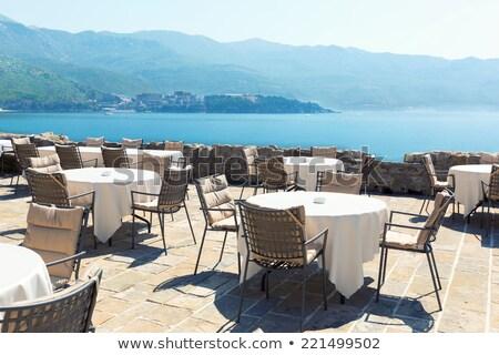 мнение ресторан терраса морем гор Сток-фото © frimufilms
