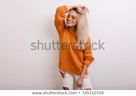 Feliz sorridente mulher jovem cardigã jeans moda Foto stock © dolgachov