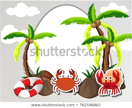 round border with crabs and coconut trees stock photo © bluering