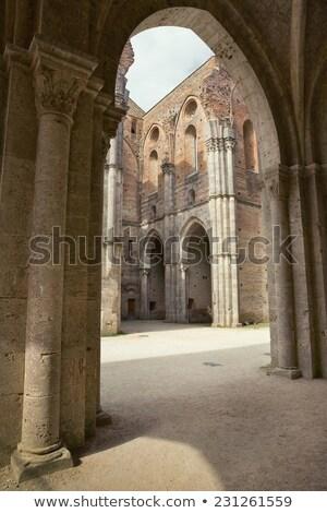 interno · traçado · abadia · toscana · belo · edifício - foto stock © stefanoventuri