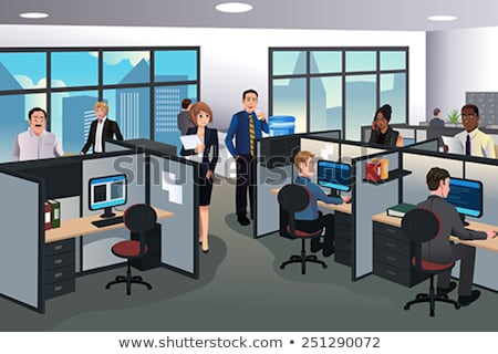 Business People Working In Office Cubicles Illustration Stockfoto © Artisticco