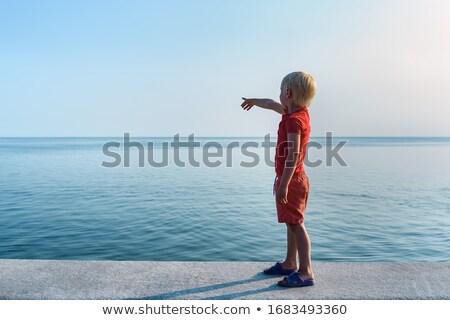 Jongen wijzend afstand natuur landschap vrijheid Stockfoto © IS2