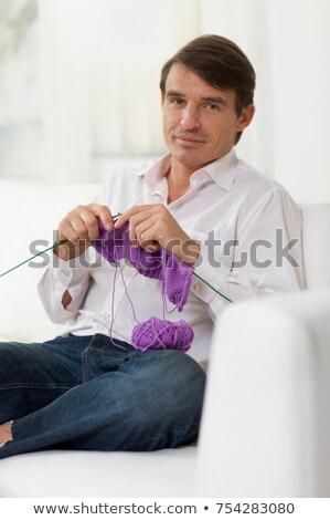男 お気に入り 色 ソファ 座って ストックフォト © IS2