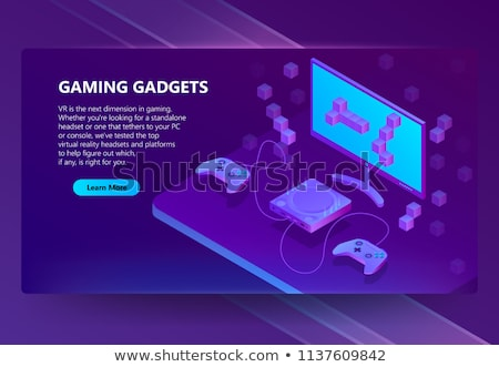 Joystick retro Isometry isolated. Gamepad Game console 8 bit. Re Stock photo © popaukropa