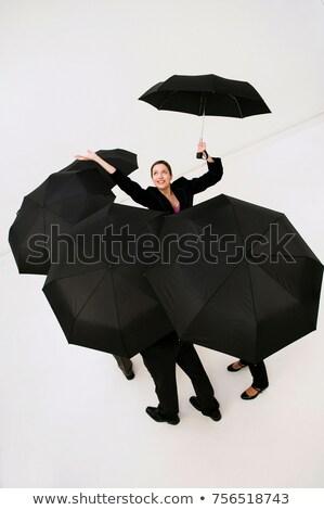Stockfoto: Vrouwen · paraplu · regen · business · glimlachend · verzekering