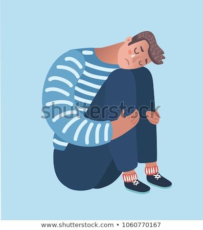 Désespérée homme pleurer seuls faible clé Photo stock © stevanovicigor