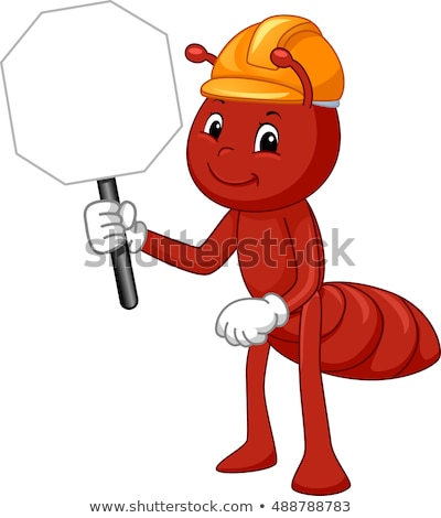 Mascot Ant Hard Hat Sign Stock photo © lenm