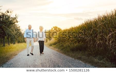 Glimlachend paar lopen vuil pad liefde Stockfoto © IS2