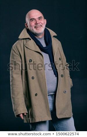 Retrato barbudo homem casaco risonho elegante Foto stock © deandrobot