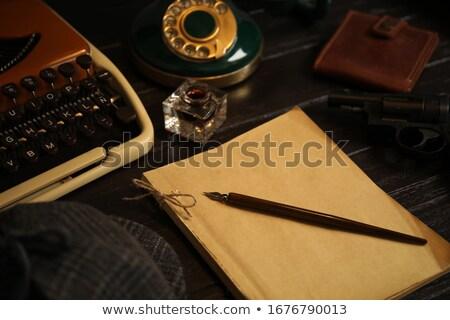 retrato · masculino · detetive · arma · curta · preto · negócio - foto stock © stokkete