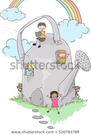 Gyerekek locsolókanna ház illusztráció csoport óvoda Stock fotó © lenm