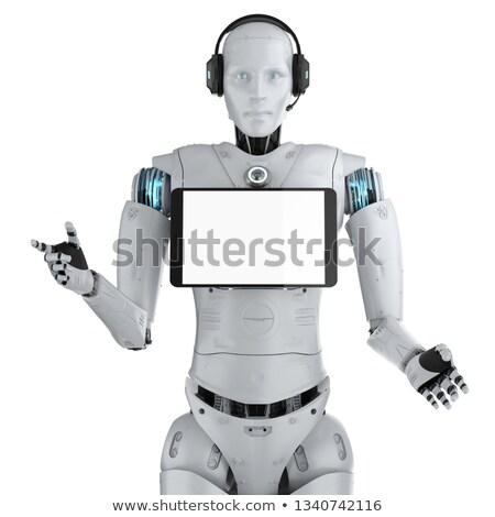 3D гуманоид робота экране таблетка футуристический Сток-фото © texelart